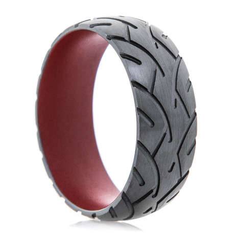 Men's Black Zirconium Motorcyle Tread Ring with Crimson Interior