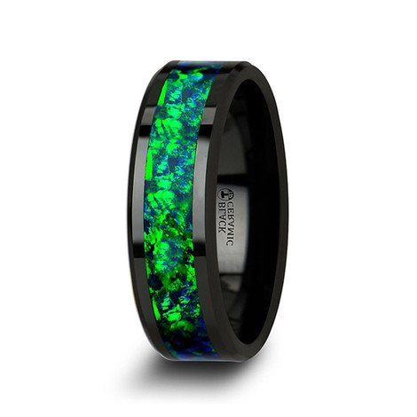 Black Ceramic Beveled Edge & Emerald Green/Blue Opal Inlay Wedding Ring