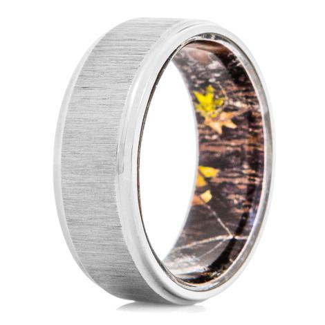 Men's Titanium Ring with Mossy Oak Interior Sleeve