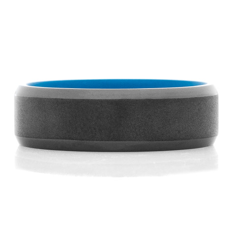 Men's Black Zirconium Dual Finish Ring with Blue Interior