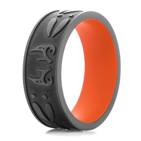 Men's Black On Black Deer Antler & Tracks Ring with Orange Sleeve