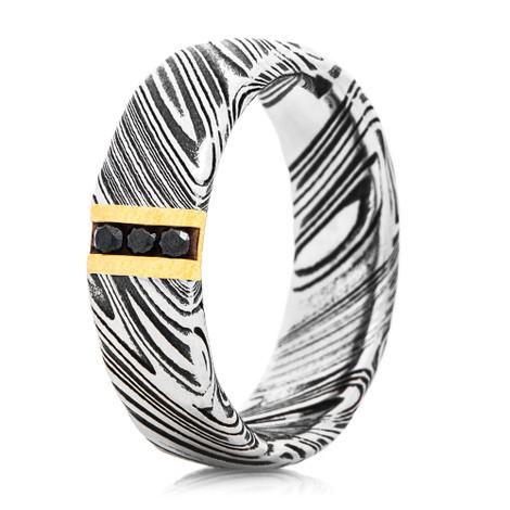 Men's Black Diamond and Gold Woodgrain Damascus Ring
