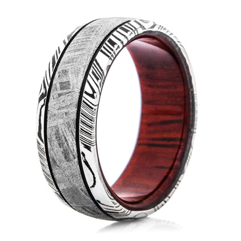 Men's Damascus Steel Ring with Meteorite and Wood Sleeve