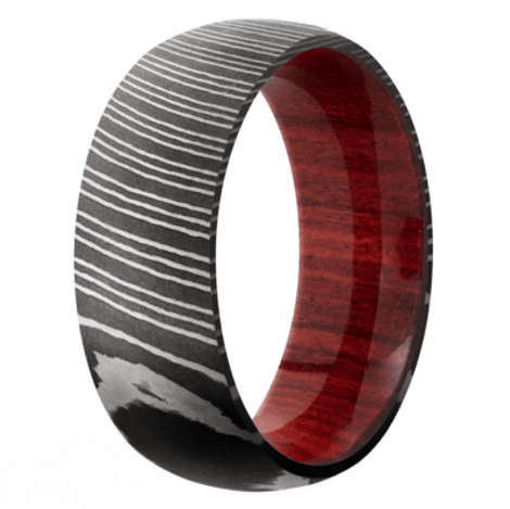 Men's Acid Finished Damacus Ring with Red Heart Wood Sleeve