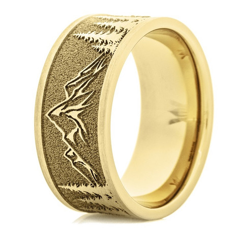 Men's 14k Yellow Gold Mountain Range Ring