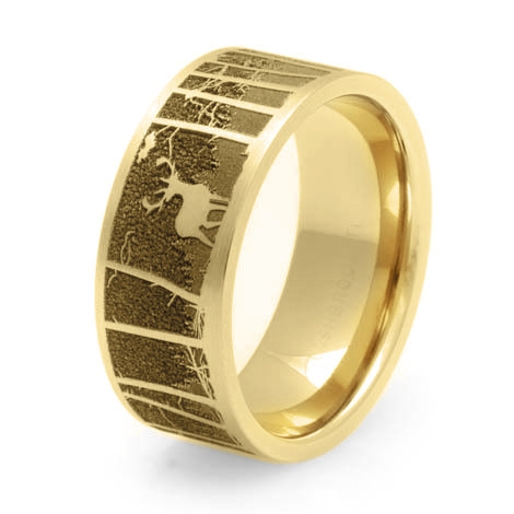 Men's 14k Yellow Gold Deer Scene Ring