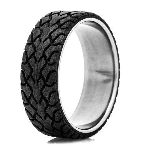 Men's Drag Radial Tread Ring with Titanium Sleeve