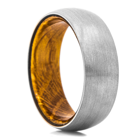 Whiskey Barrel Wood & Titanium Ring