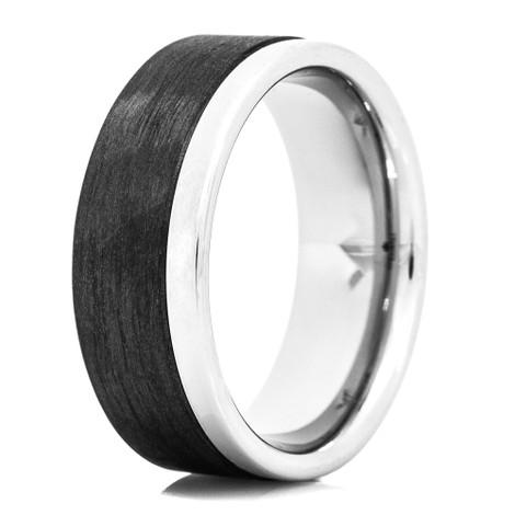 Men's Offset Carbon Fiber & Cobalt Ring