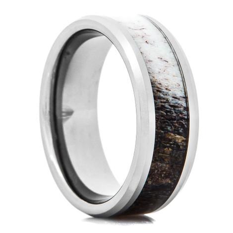 Men's Tungsten Ring with Ombre Deer Antler Inlay