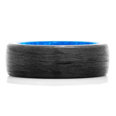 Carbon Fiber & Exotic Blue Swirl Ring