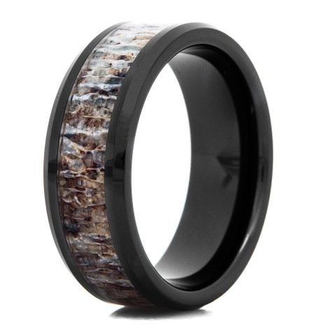 Black Ceramic Deer Antler Inlay Ring