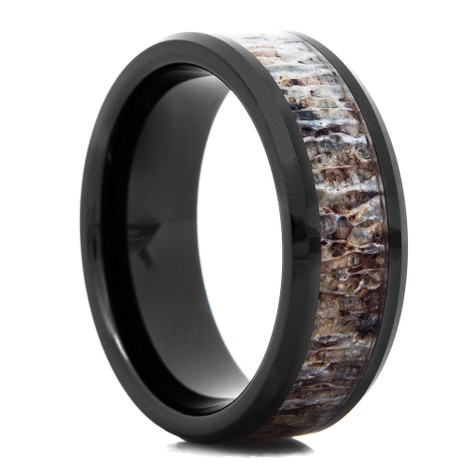 Black Ceramic Deer Antler Inlay Ring