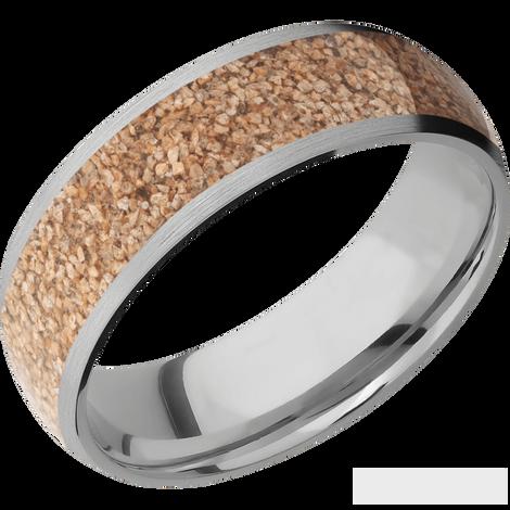 Men's Titanium Tan Dinosaur Bone Inlay Ring