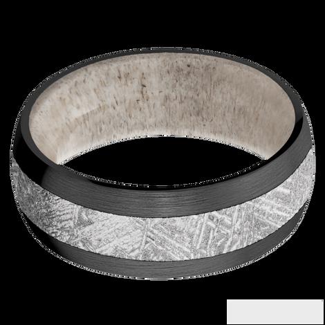 Men's Black Zirconium Meteorite Ring with Deer Antler Sleeve