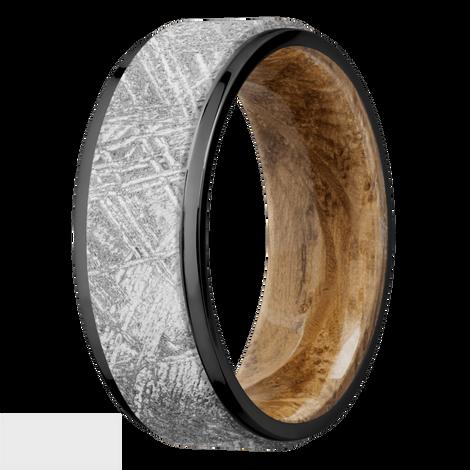 Men's Black Zirconium Meteorite Ring with Wood Sleeve