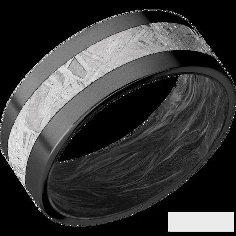 Men's Black Zirconium Meteorite Ring with Forged Carbon Fiber Sleeve