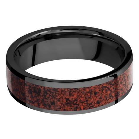 Men's Flat Profile Black Zirconium Ring with Red Dinosaur Bone Inlay