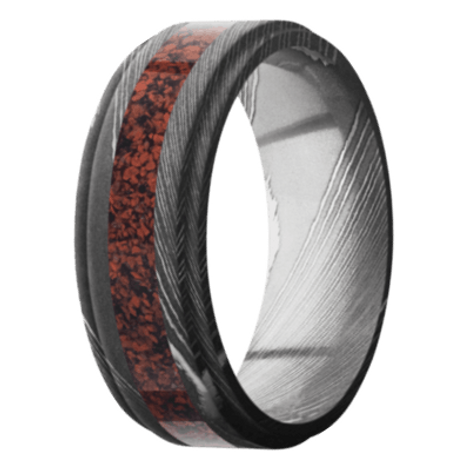 Men's Acid Finished Damascus Steel Ring with Red Dinosaur Bone Inlay