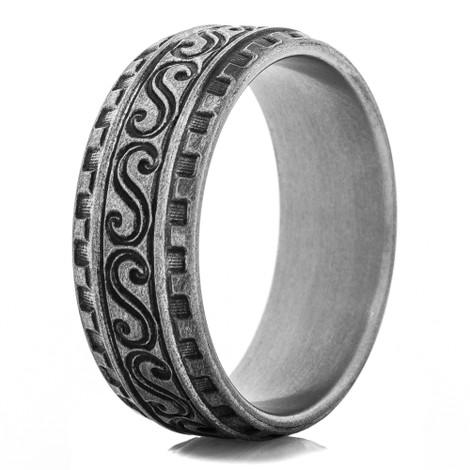 High Tide Titanium Carved Ring