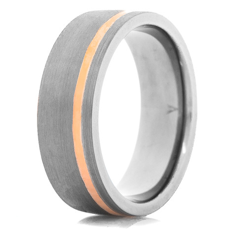 Men's Tantalum Ring with Rose Gold Inlay & Satin Finish