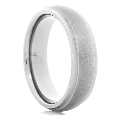 Men's Dual Finish Tantalum Ring with Dome Profile