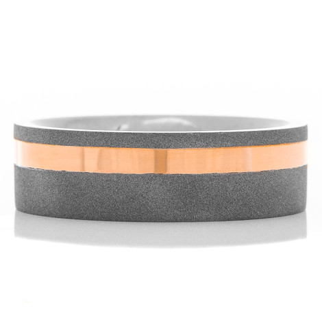 Men's Sandblasted Tantalum Ring with Offset Rose Gold Inlay