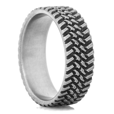 Men's Titanium Rugged Finish Off Road Tread Ring
