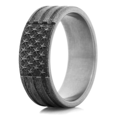 Titanium Star Spangled Banner Ring