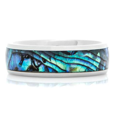 Men's Titanium and Abalone Inlay Ring