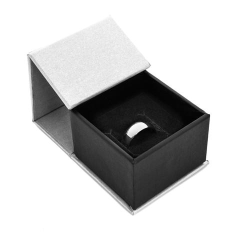 Men's Black Zirconium Baseball Stitch Ring with Oak Sleeve