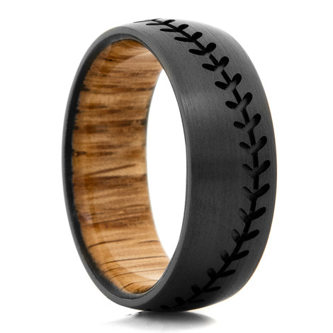 Men's Black Zirconium Baseball Stitch Ring with Oak Sleeve
