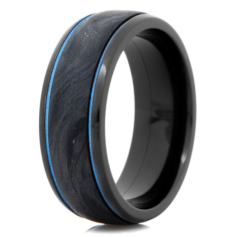 Men's Black Zirconium and Forged Carbon Fiber Ring with Sea Blue Accents