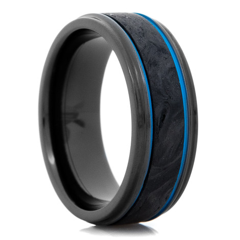 Men's Forged Carbon Fiber and Black Zirconium Ring with Polar Blue Grooves