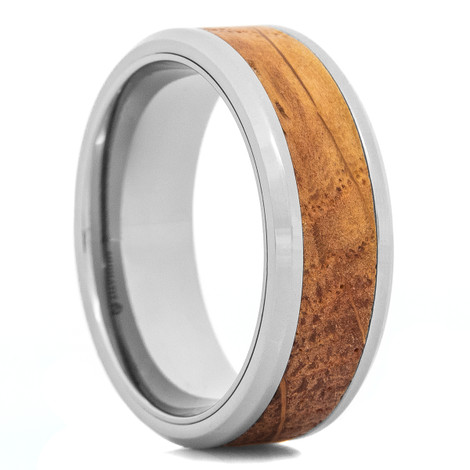 Men's Titanium Authentic Whiskey Barrel Inlay Ring