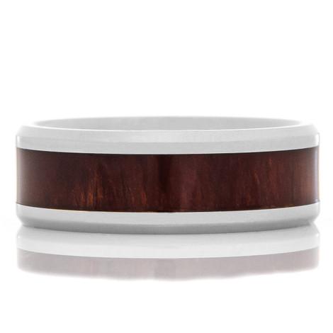 Men's Titanium Red Wood Inlaid Ring