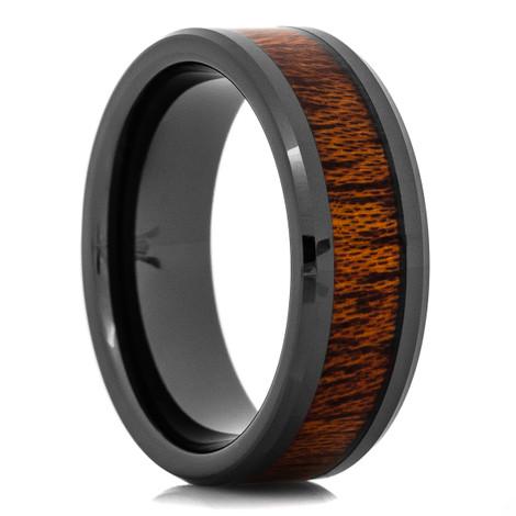 Men's Black Ceramic Mahogany Wood Inlaid Ring