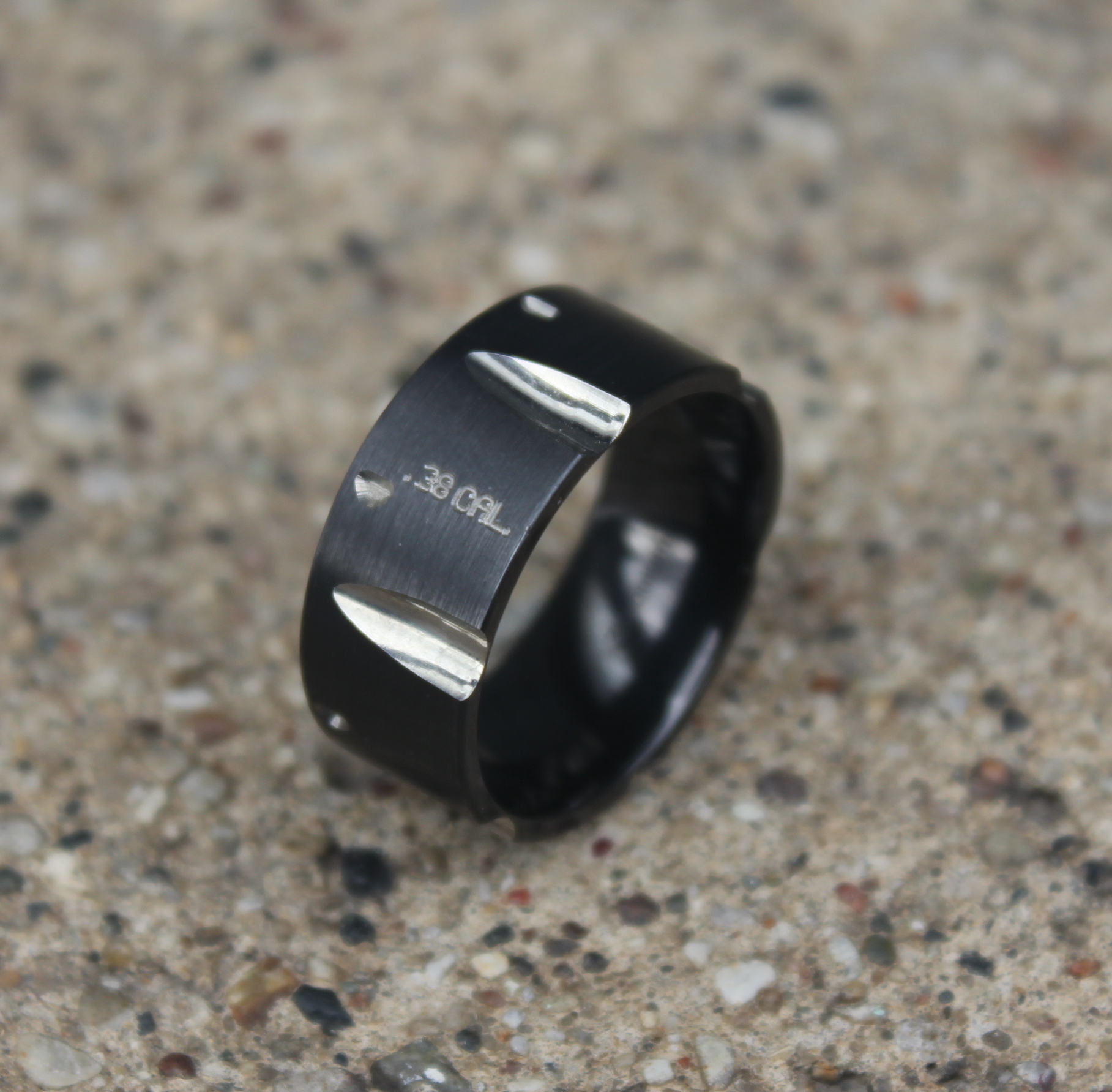 Black Zirconium .38 Caliber Pistol Ring