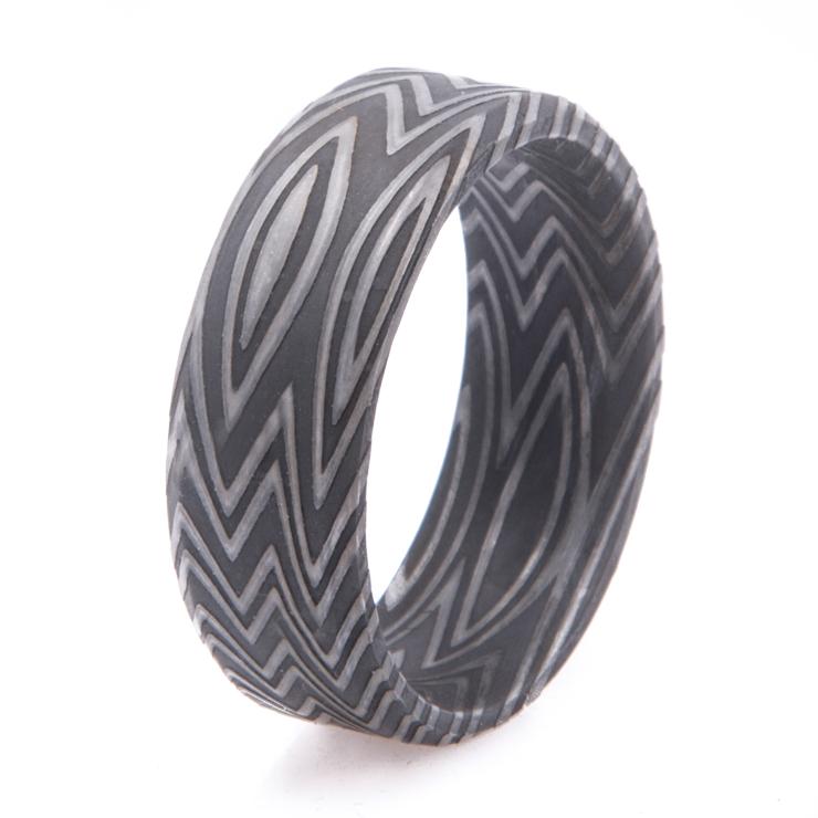 Men's Acid Finish Zebra Pattern Damascus Steel Ring