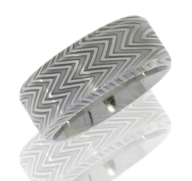 Men's Aggressive Beveled Edge Damascus Steel Ring