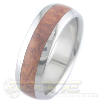 Men's Dome Profile Titanium and Amboyna Burl Ring