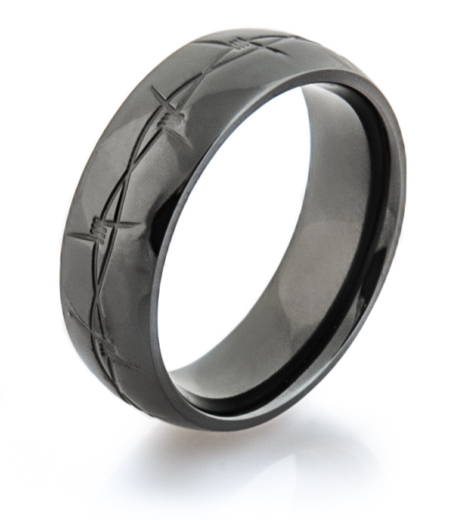 Black Barbwire Wedding Band
