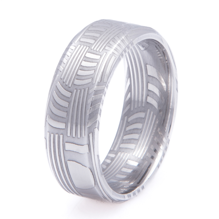 Men's Basket Weave Damascus Steel Ring