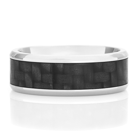 Beveled Titanium Ring with Carbon Fiber Inlay