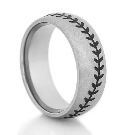 Men's Gunmetal Titanium Baseball Wedding Ring