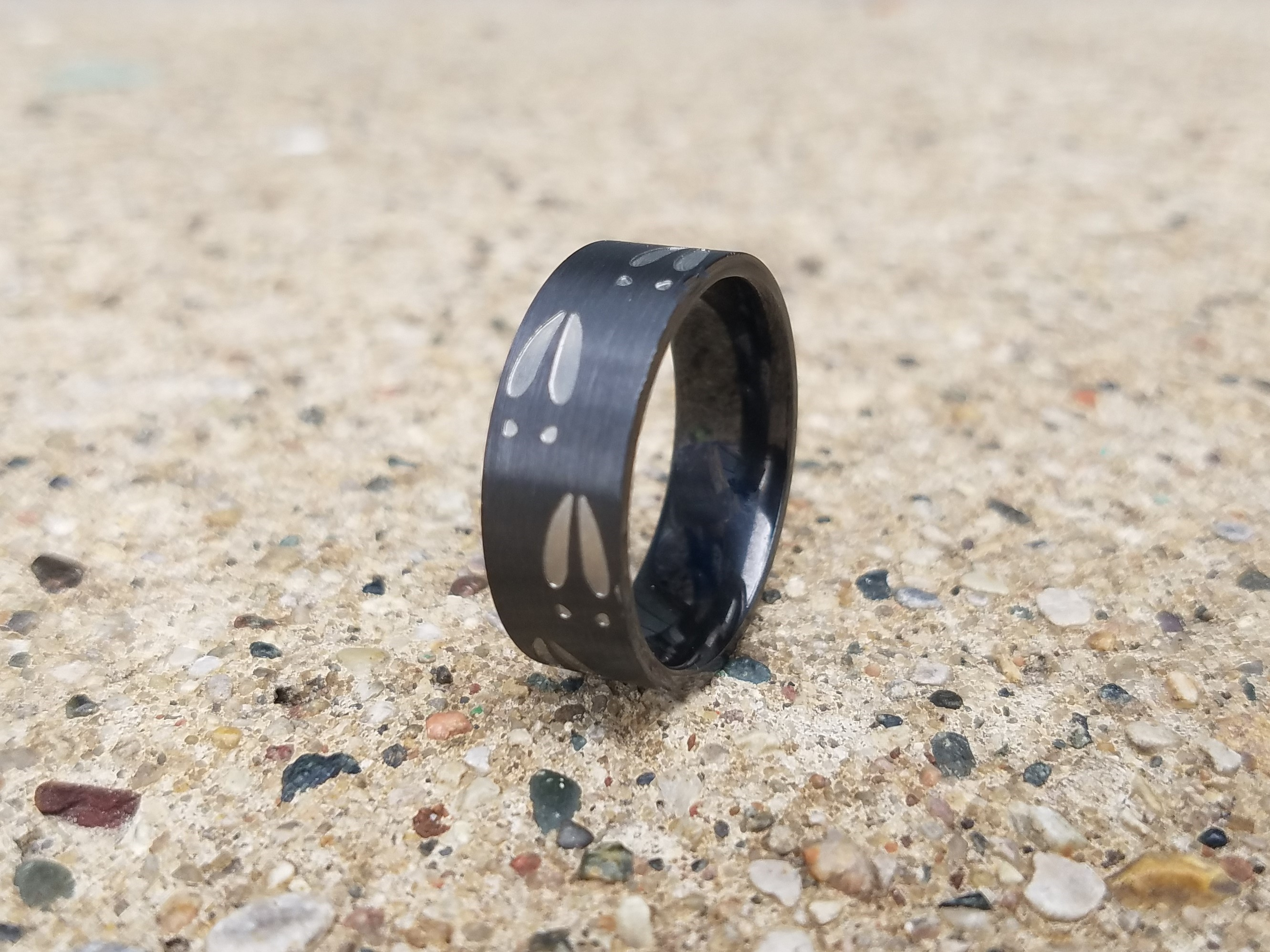 Men's Two Tone Black Zirconium Deer Tracks Ring