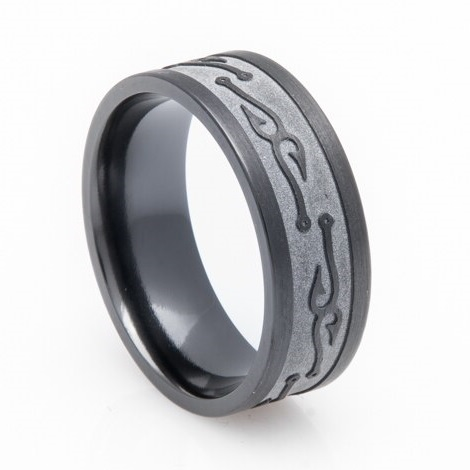 Men's Textured Black Fish Hook Wedding Band