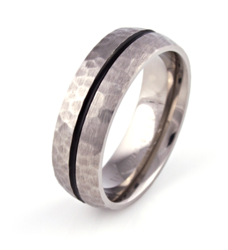 Dome Grooved Titanium Ring with Hammered Finish