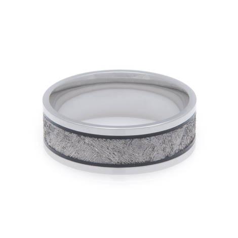 Men's Black Groove Cobalt Gibeon Meteorite Ring
