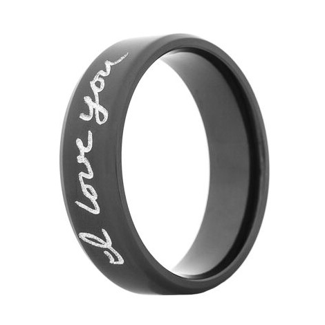 Black Zirconium Handwriting Ring